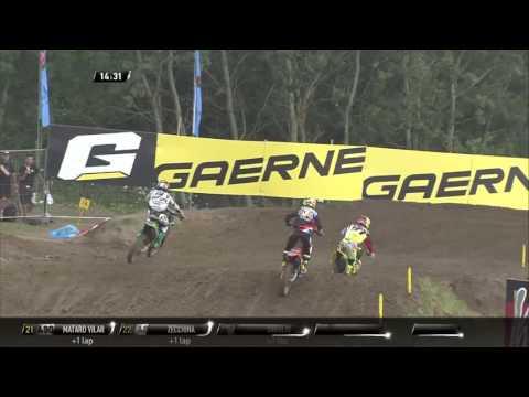 Dylan Ferrandis passes Jeremy Seewer MXGP of Czech Republic MX2 Race 2 - 2016