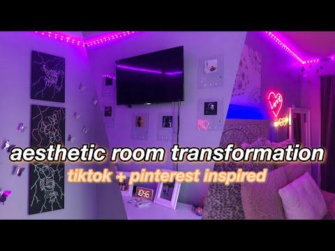 aesthetic room transformation 2020! *tiktok + pinterest inspired* redecorating my room!