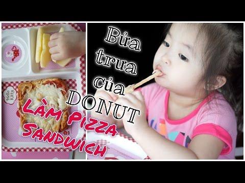 ♡ LÀM PIZZA SANDWICH CHO BỮA TRƯA CỦA DONUT ♡