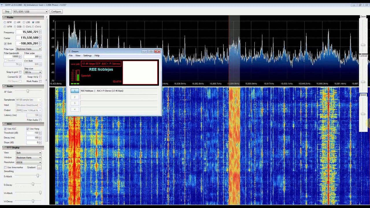 DRM REE Noblejas Radio with RTL SDR (RTL2832), Nooelec Ham It Up  Upconverter, SDR Sharp and DREAM