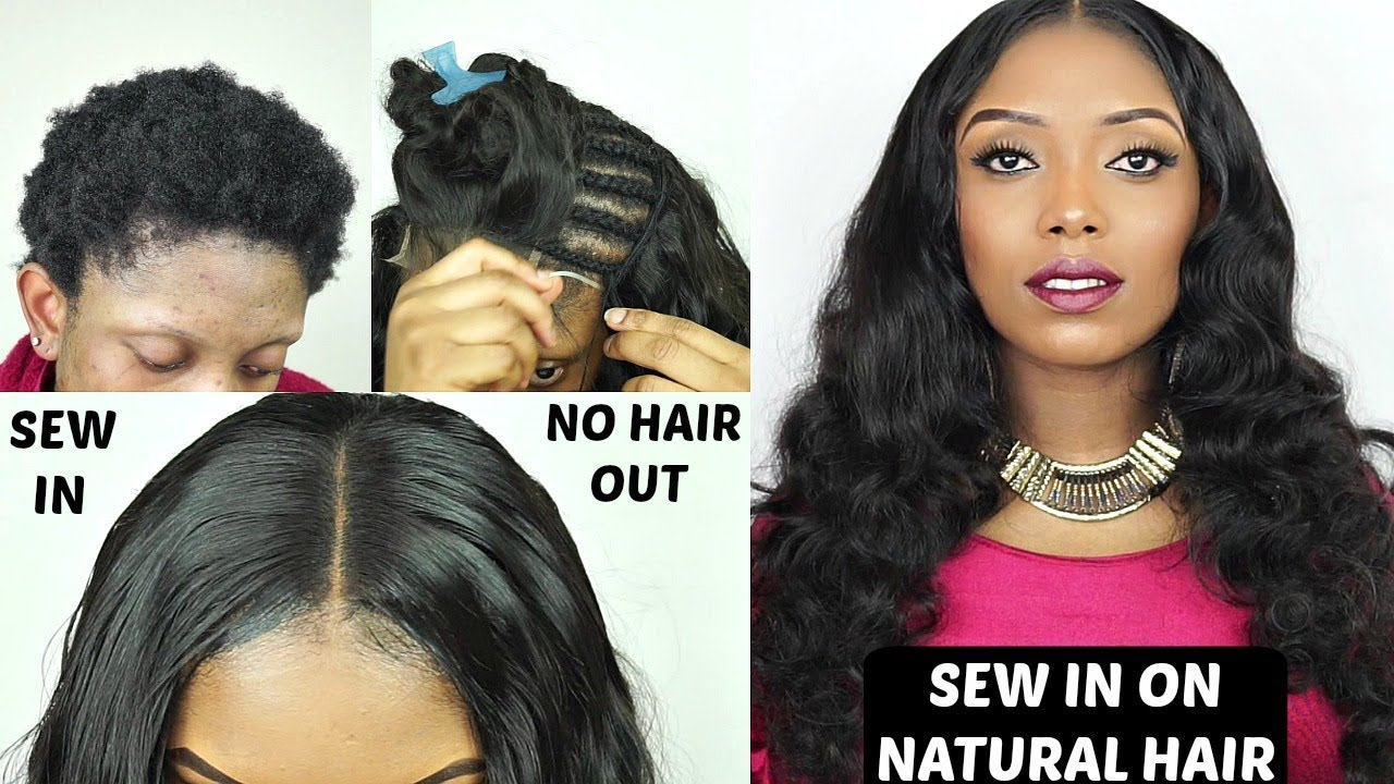 Diy How To Do Full Sew In Weave No Leave Out On Short Natural Hair Ali Pearl Youtube