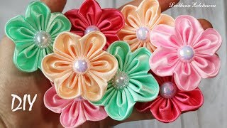 Простые Цветы из лент 🌸 Tutorial kanzashi for beginner 🌸 Svetlana Zolotareva