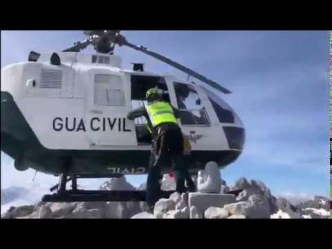 La Guardia Civil retira un bloque de piedra que amenazaba desprenderse del Urriellu