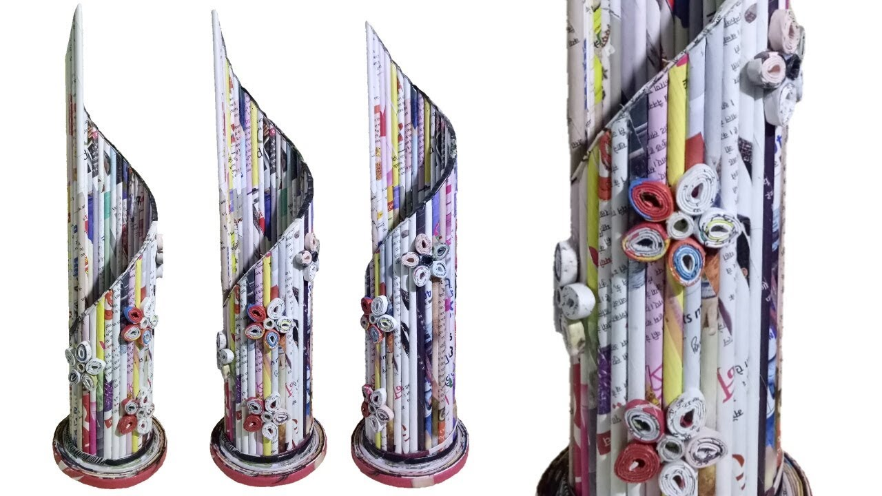 Newspaper Flower Vase Diy Newspaper Crafts Best Out Of
