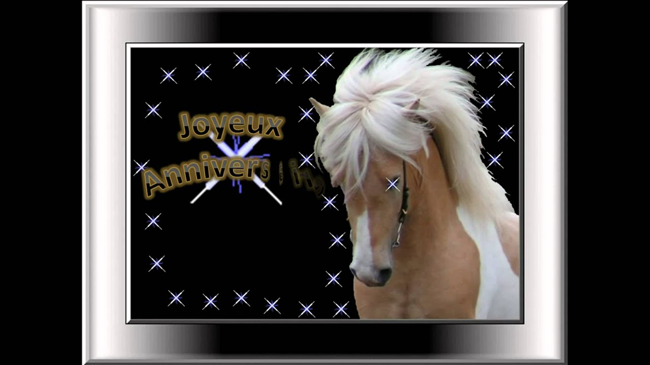 carte anniversaire theme cheval