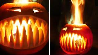 Flaming Halloween Pumpkin with Fangs