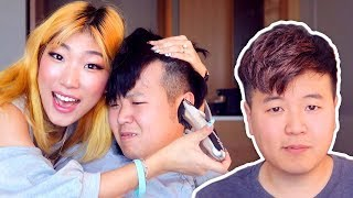 SHAVING MY HUSBAND'S HAIR ✂😂 in our chicago hotel lololol (hair transformation)