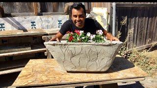 COMO HACER MACETERO DE CEMENTO CON ESTAMPADO/ making a big flower pot