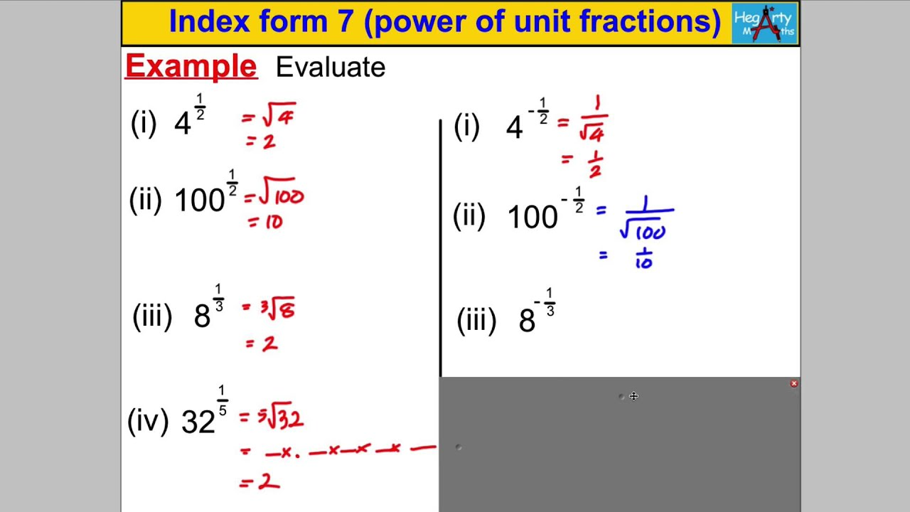 Index form 7 power of unit fractions youtube falaconquin