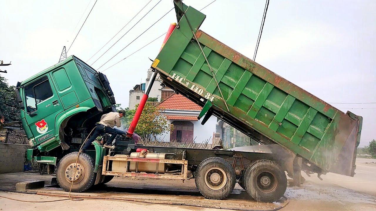 Rửa xe ô tô tải ben thùng   liên khúc chú ếch con remix   dump truck children's music