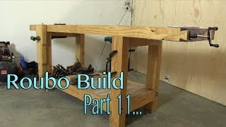 Build a solid workbench on a budget (split top roubo) Part 11 - Top Flattening and Finish
