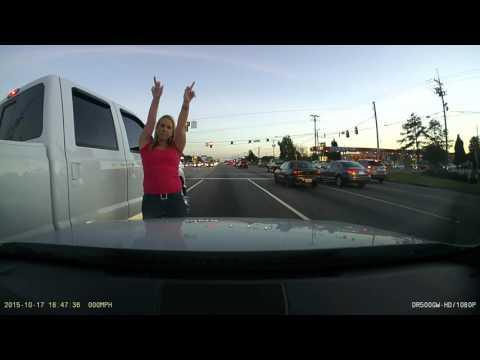 F350 runs into BMW. Redneck woman gives zero fucks