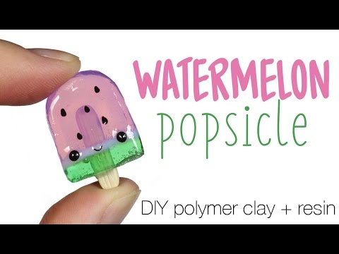 How to DIY Watermelon Popsicle Polymer Clay/Resin Tutorial
