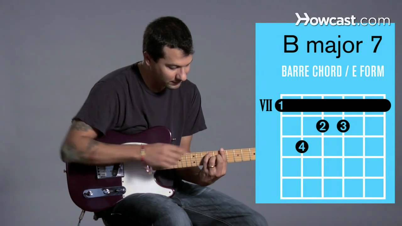 How To Play A B Major 7 Barre Chord Guitar Lessons Youtube