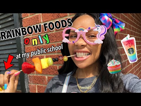 I ONLY ATE RAINBOW FOODS FOR 24 HOURS! (at my public school)