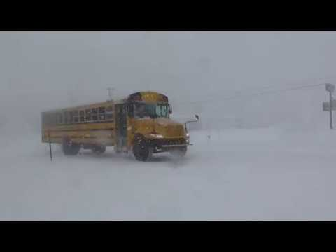 Snow Storm In Alpena Michigan March 1 2017!! White Out Driving Conditions