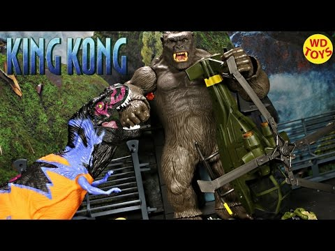 New King Kong Skull Island  Vs Trex Jurassic Park Monarch Expedition Team Helicopter Unboxing