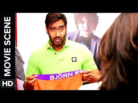 Sonakshi see's Ajay Devgn's Singham   Action Jackson   Movie Scene