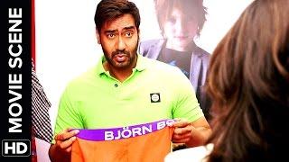 vuclip Sonakshi see's Ajay Devgn's Singham | Action Jackson | Movie Scene