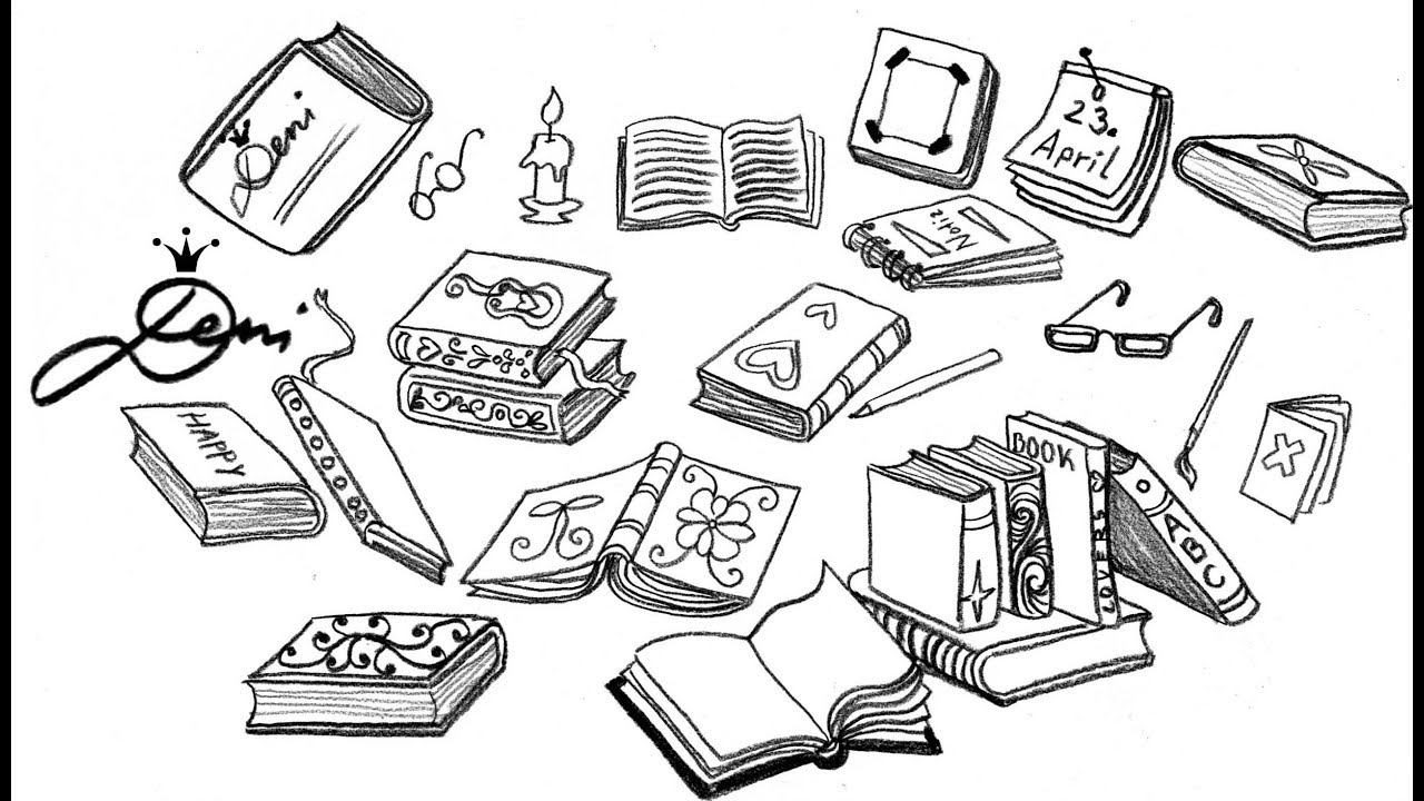 Bücher zeichnen lernen 📚 Wie zeichnet man Bücher Books doodles for  Booklovers