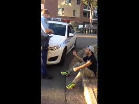 Youth of Middle Eastern appearance remonstrating with NSW Police