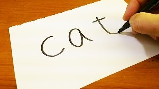 Very Easy ! How to turn words CAT into a Cartoon - art on paper for kids