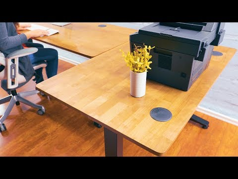 Bamboo Standing Desk with matching 2-Leg Seated Height Side Table