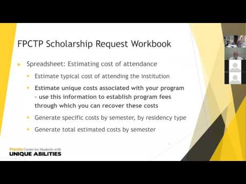 FPCTP scholarship requests, distribution and reporting webinar 6/14/2017