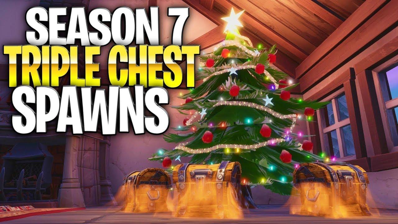 Fortnite Christmas Tree.Fortnite Season 7 Triple Chest Spawns Best Season 7 Landing Locations Christmas Tree House