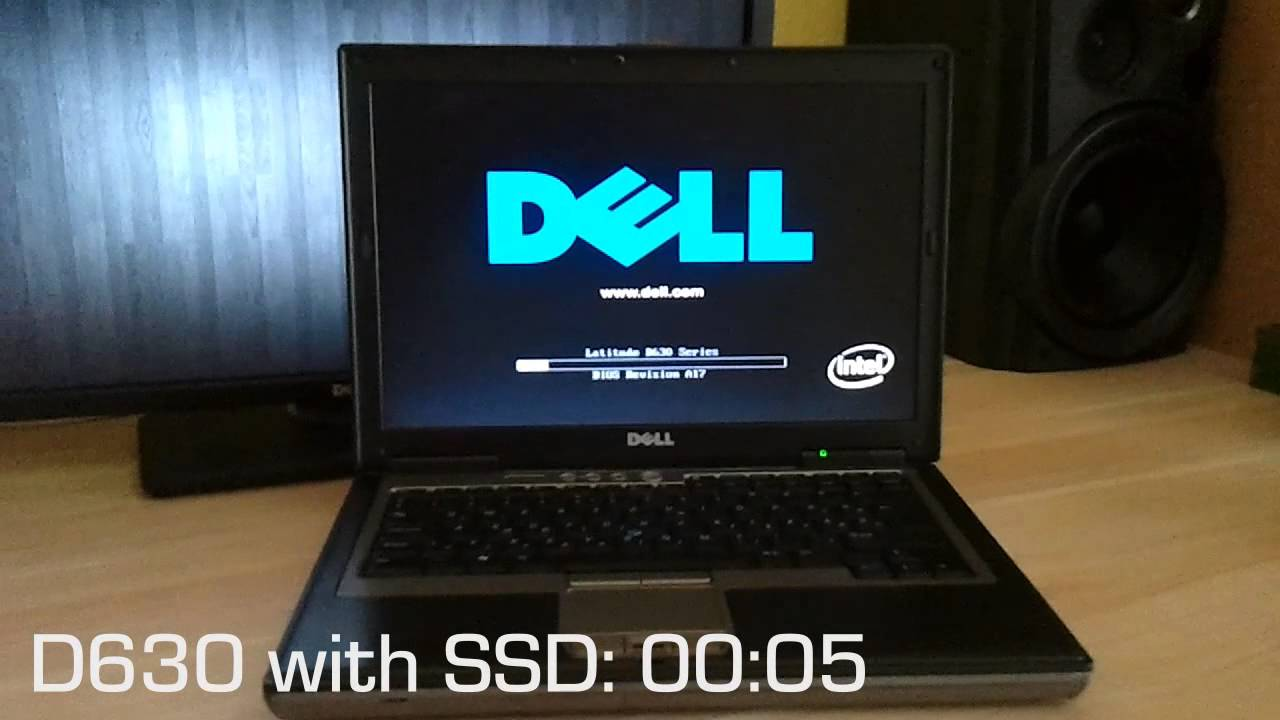 dell latitude d630 startup with hdd and with ssd
