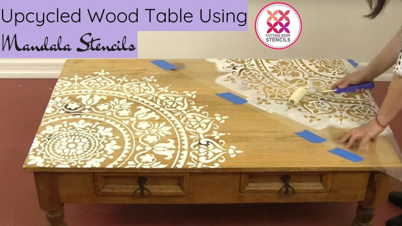 How To Paint A Mandala On A Table Using A Mandala Stencil - YouTube
