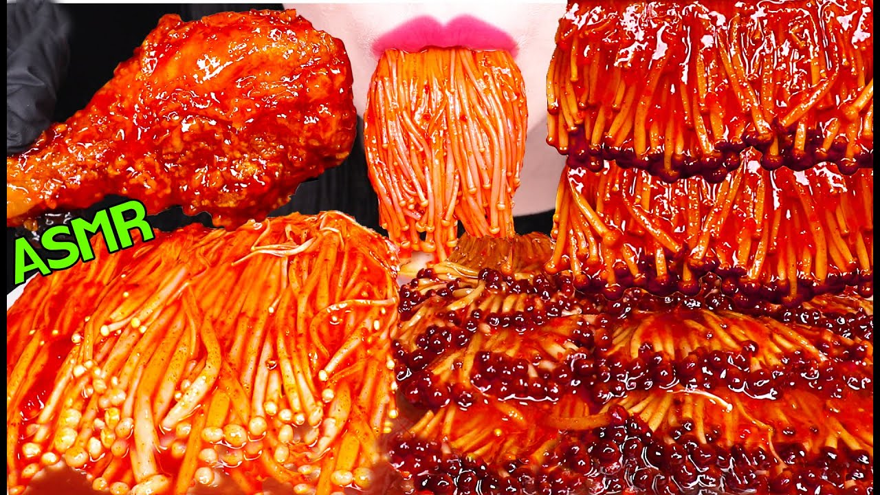 ASMR FRIED CHICKEN + SPICY ENOKI MUSHROOM 매운 팽이버섯 + 시크릿 양념 치킨 닭다리 먹방 EATING SOUNDS