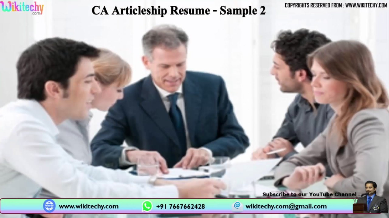 Ca Articleship Resume Chartered Accountant Ca Articleship