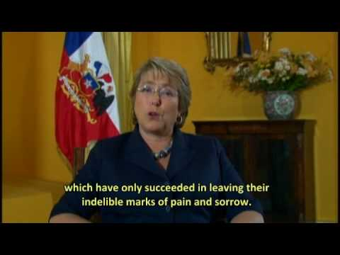 M. Bachelet President of Chile supports the World March