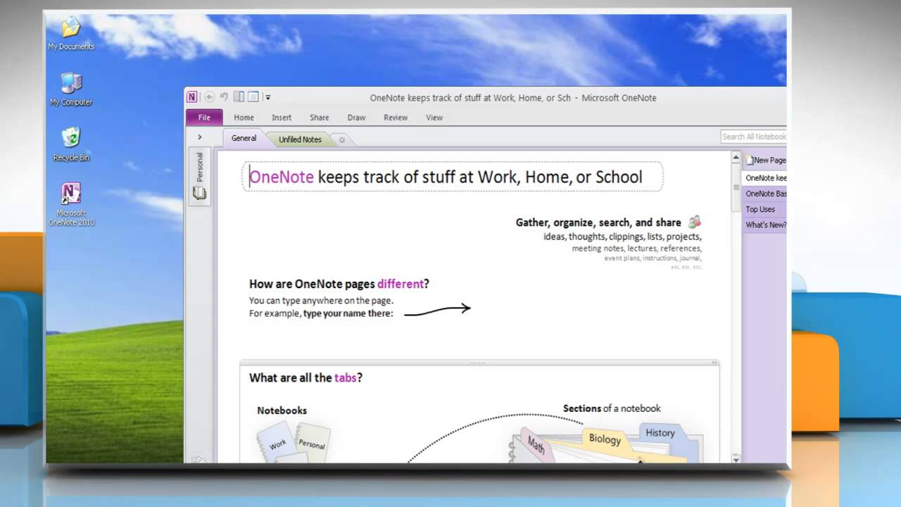 how to create onenote on a location