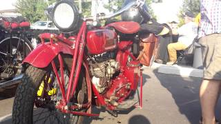Vintage Harleys, Indians, and Henderson motorcycles