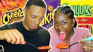 """HOTTEST """"HOT CHEETOS AND TAKIS CHALLENGE"""" EVER!!!   Josh sweats and cries😖😭"""