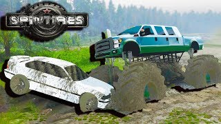 Spin Tires - CRUSHING CARS WITH HUGE MONSTER TRUCK!