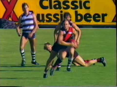 1986 Round 2 VFL Essendon Vs Geelong at Windy Hill, 20 mins  Sevens Big League, Part highlights of 3