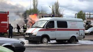 Пожар на газовой заправке В Воронеже 23.04.2016