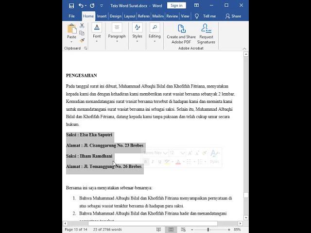 Tutorial Belajar Kursus Komputer Ms. Word Cara Membuat Surat Wasiat Bersama