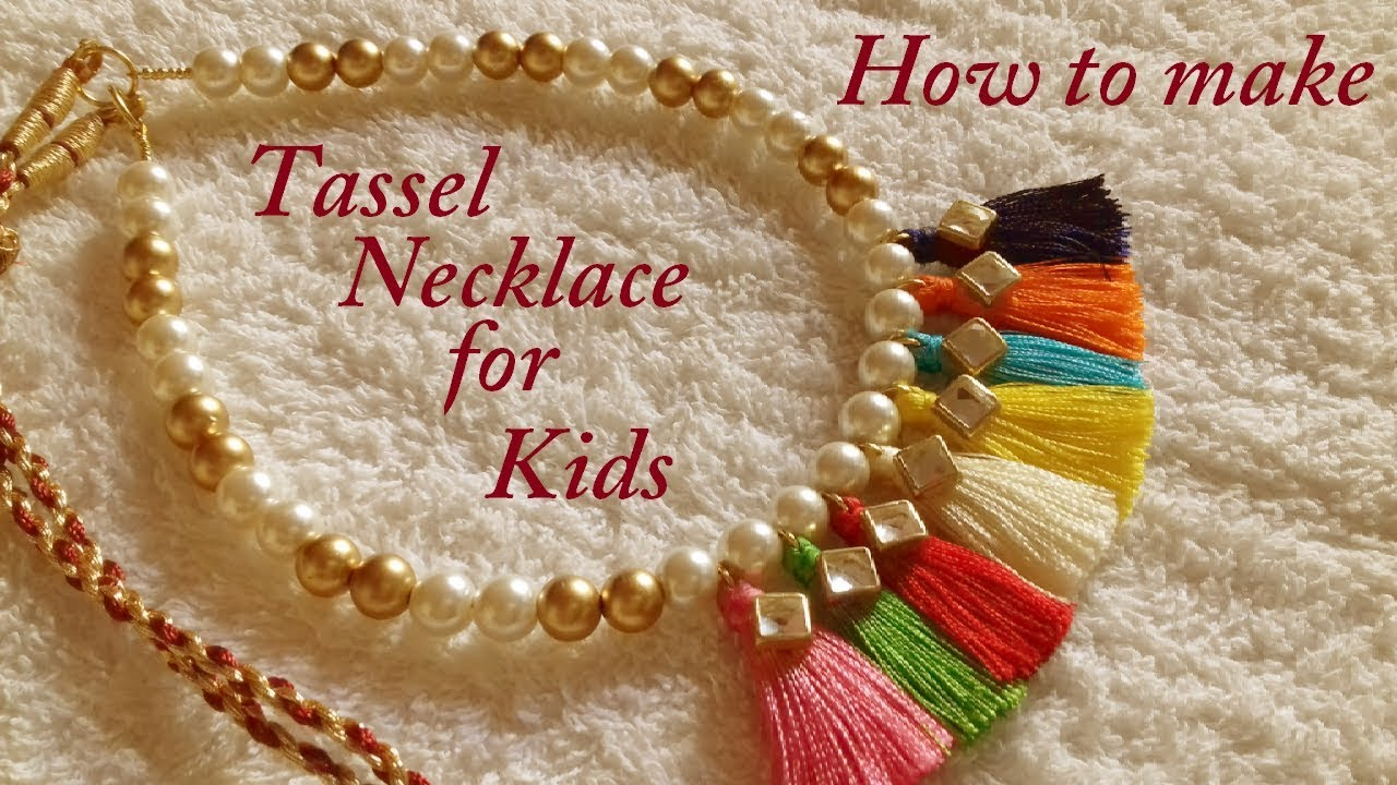 How To Make Silk Thread Tassel Necklace For Kids