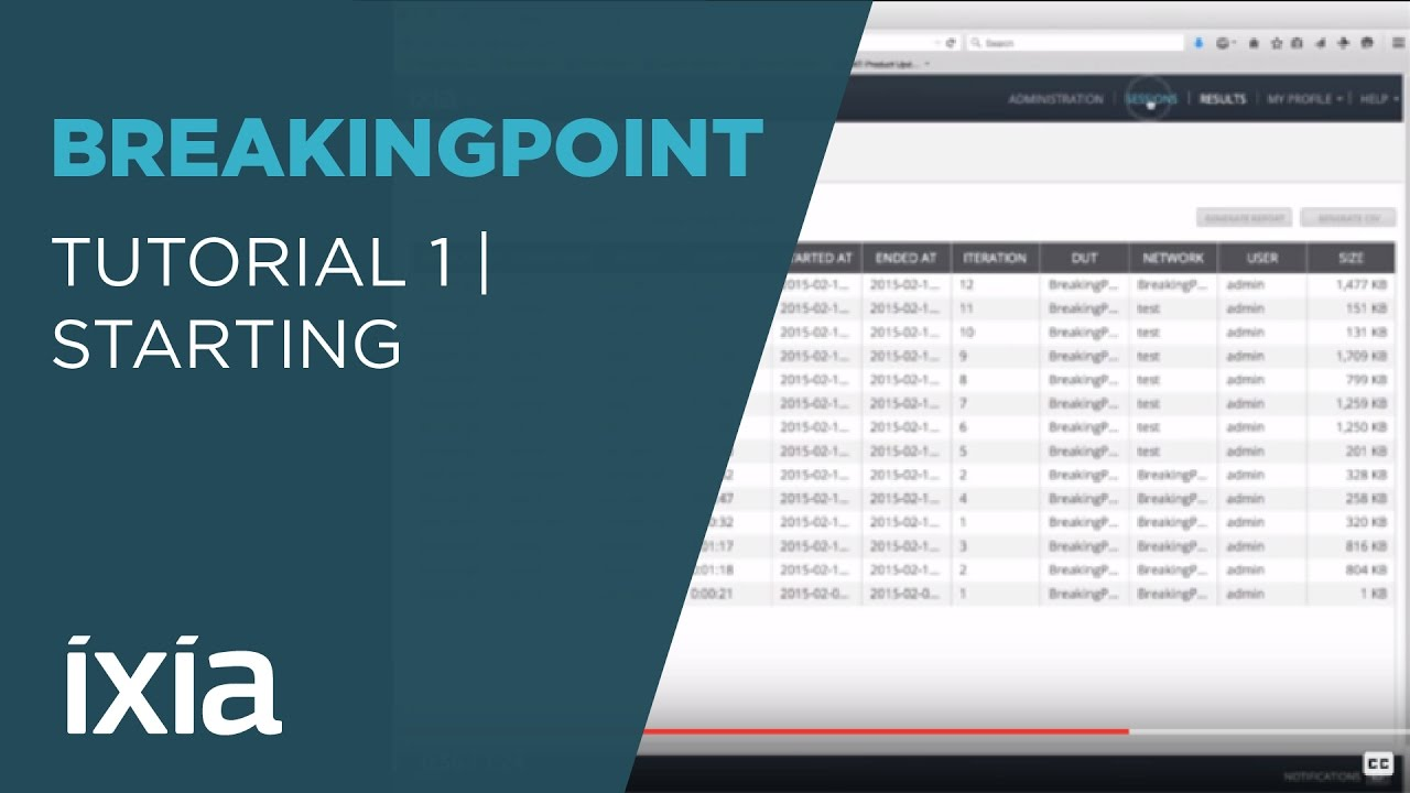 Tutorial 1 Starting Ixia BreakingPoint