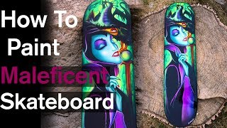 how to airbrush Malificent disney skate deck | timelapse art