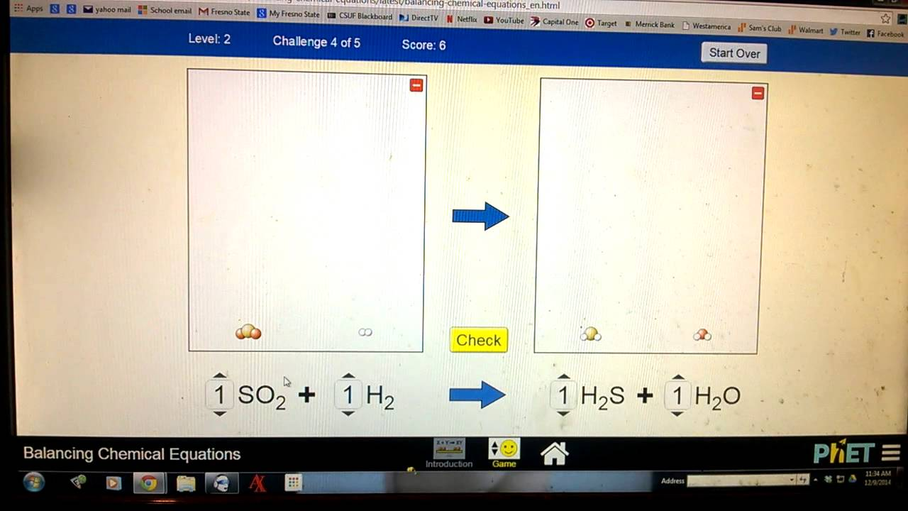 Level 2 Tutorial Phet Balancing Chemical Equations Youtube