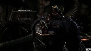 MK X Tremors Stalag Might Fatality on Shinnok, Wrathful, Samurai Costumes