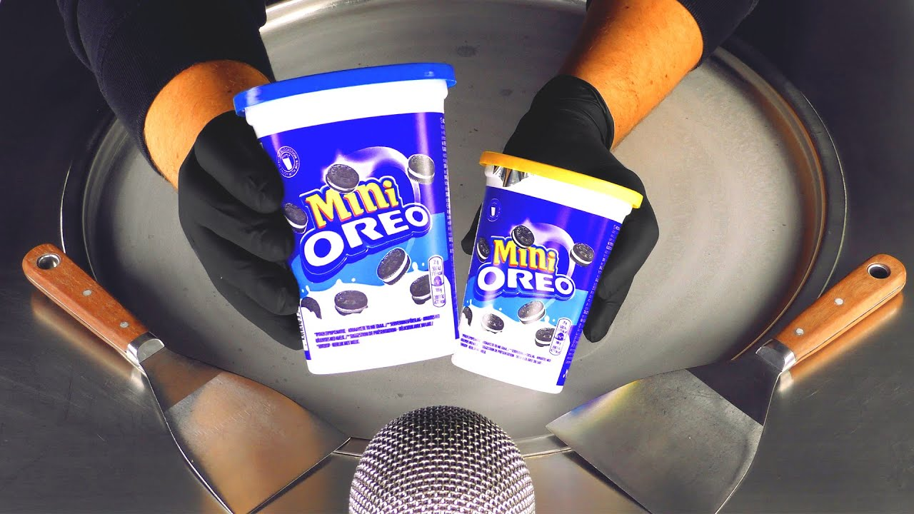 ASMR - mini OREO Ice Cream Rolls | satisfying Cookie Crunch ASMR Sounds for Tingles & Triggers in 4k