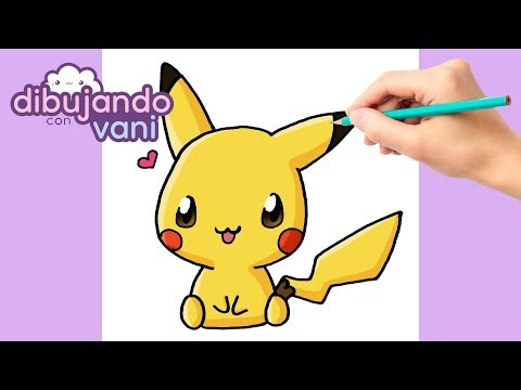 COMO DIBUJAR PIKACHU KAWAII - DIBUJOS IMAGENES FACILES ANIME PARA COLOREAR - How to draw pikachu