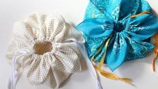 Tutorial de sacola de cordão em formato de pétalas – Costurando à mão