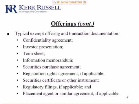 Private Offerings Using Regulation D & Intrastate Exemptions